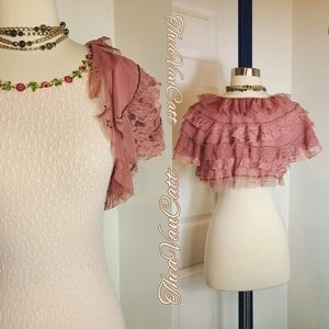 Vintage Betsey Johnson ruffle lace beaded bolero ♡